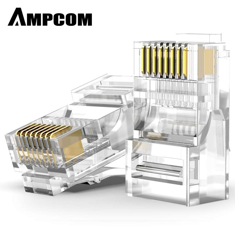AMPCOM CAT5e UTP 50U RJ45 Modular Plug Connector 8P8C Crimp End Ethernet Cable Ethernet Connector