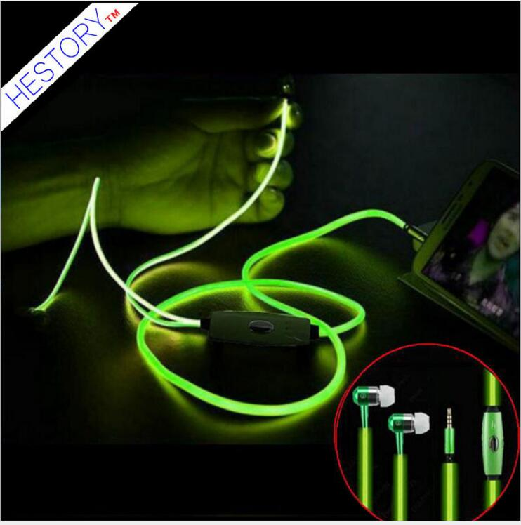 цены Free shipping 10 pcs /lot hot selling  Luminous headset factory wholesale metal ear type EL cold light  bass  earphone