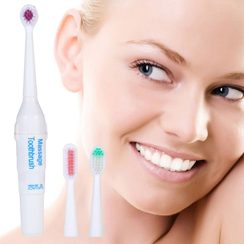 Random Battery Operated Electric Toothbrush with 3 Brush Heads Oral Hygiene Health Products No Rechargeable Tooth Brush FM88 oil pulling for oral health