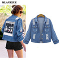 Autumn Fashion Cowboy Women Retro 2016 New Fashion Printing Slim Denim Jacket Casual Puls Size L-4XL Denim Jacket