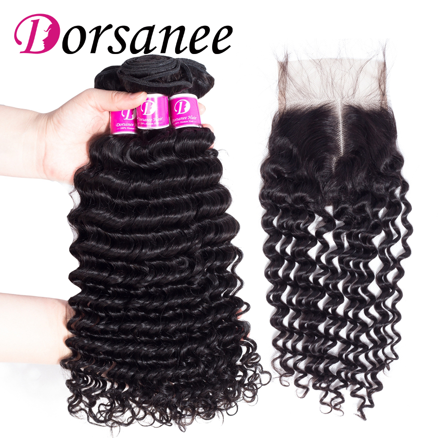 Dorsanee Brazilian Hair Deep Wave with Closure with Baby Hair 100% Human Hair Bundles Non Remy Hair Extensions