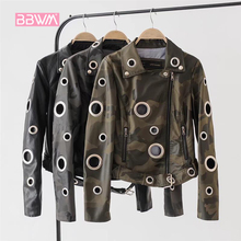 Jacket Coat Locomotive Female Black Hollow Women's Fall Slim Tide Wild Hoop Short Personality