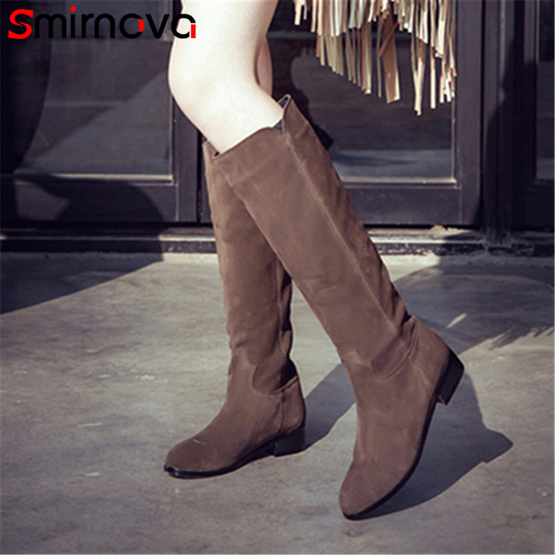 Smirnova new arrival 2018 prevail winter boots cow suede square heels round toe slip on solid simple women knee high boots round toe suede slip on plimsolls