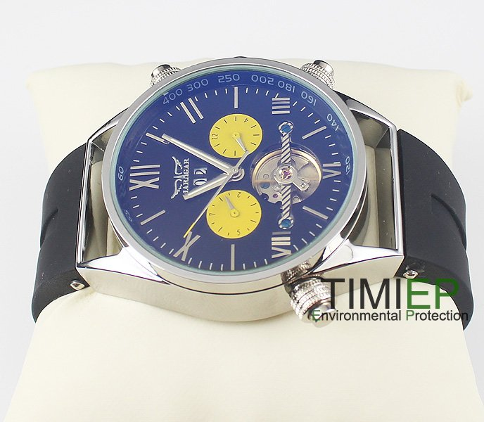 где купить Man Luxury Elegant Blue Dial Automatic Mechanical Rubber Men's Boys Causal Watch freeship по лучшей цене