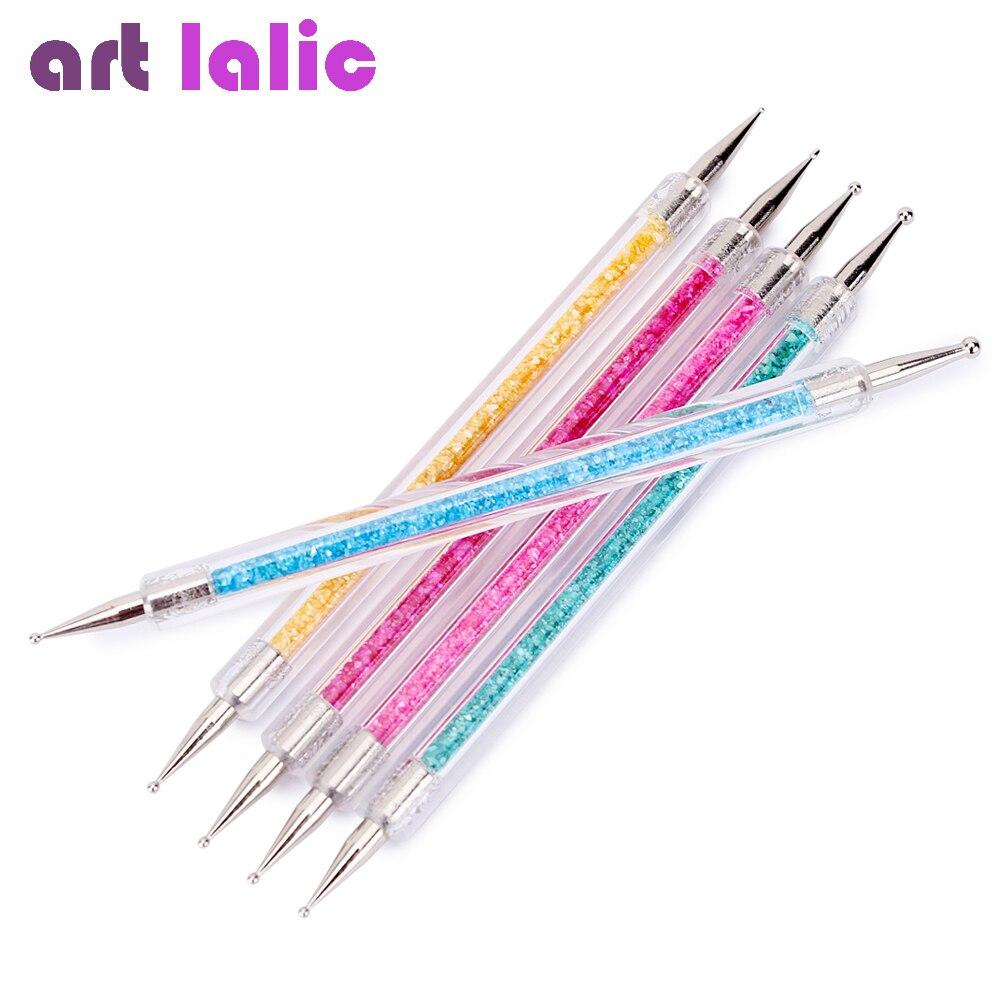 5pcs/set Acrylic 2 Ways Nail Art Dotting Pen Colorful Shell Crystal Nail Decoration Painting Brush Nails Design Tools