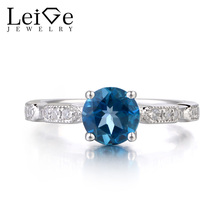 Leige Jewelry London Blue Topaz Rings Engagement Wedding Sterling Sliver Ring For Woman November Birthstone Round Cut Gemstone