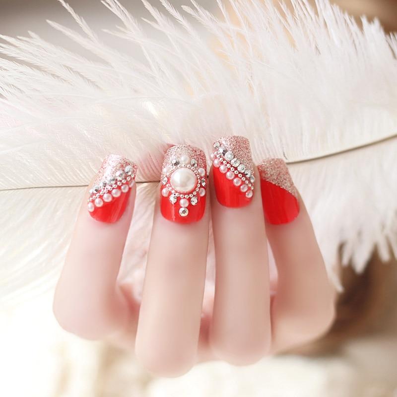 24 Pcs Full Cover Red False Nails Rhinestones Crystal 3D Design ...
