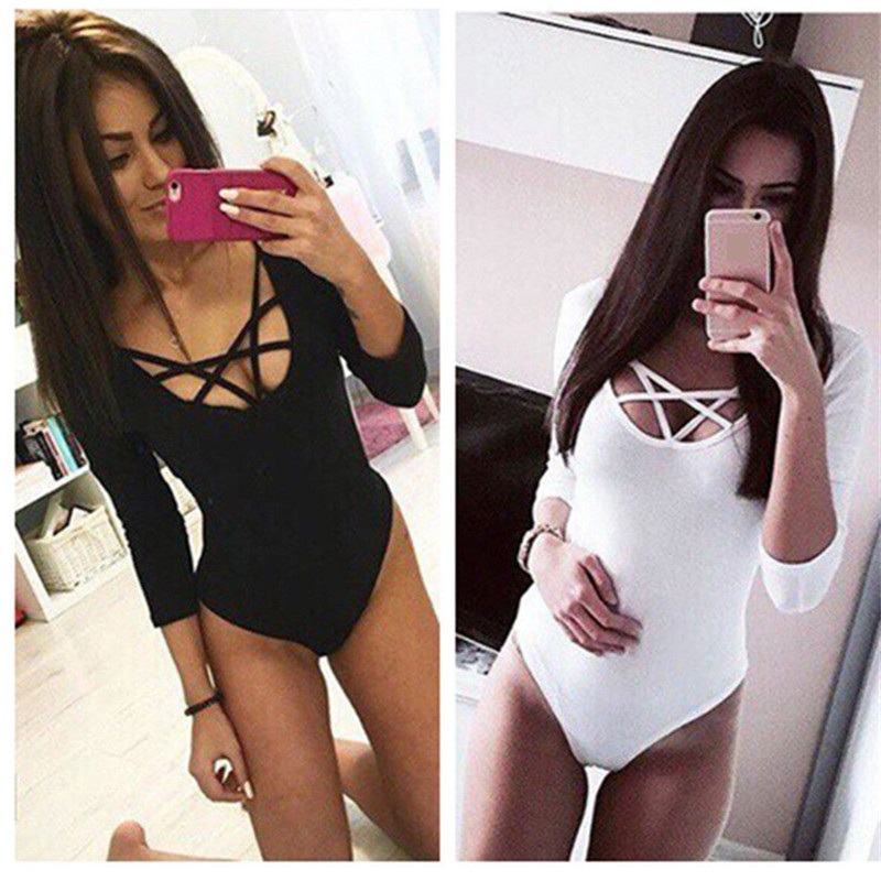 Takerlama Chaude Sexy Femmes 3/4 Manches Body Moulante Lady Justaucorps Corps Tops Salopette T-shirt Clubwear V Cou évider Body