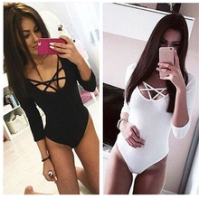 Takerlama Hot Sexy Women 3/4 Sleeve Bodysuit Bodycon Lady Leotard Body Tops Jumpsuit T-shirt Clubwear V Neck Hollow out Bodysuit