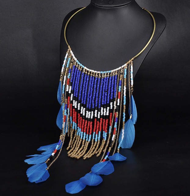 Ethnic Bohemian Necklace Women 2017 Tassel Beads Feather Plume Turquoise Gros Collier Femme Jewelry Accessories Wholesale  N1304