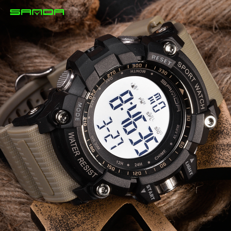 Digital Watch Clock SANDA Men Luxury Relogio Brand Male Alarm Masculino