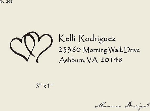 Rustic Return Address Stamp 3 X1 Custom Wedding Calligraphy Heart In Stamps From Home Garden On