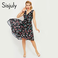 Sisjuly Vintage Dress Sexy Summer V Neck Flower Print Chiffon Retro Black Party Dress 50s Cherry