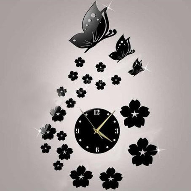 3D Modern DIY Mirror Wall Stickers Automatic Mechanical Movement Wall Clock Butterfly Flying Wall Clock Alloy Mirror Wall Clock