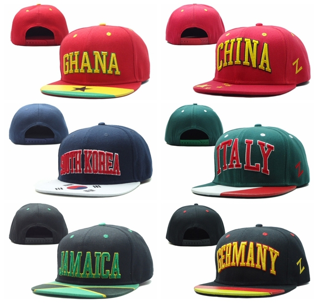 ef9b068318c Flag brim Snapback hats Ghana China South Korea Italy Jamaica Germany mens  womens hiphop Casquettes gorras bones baseball caps