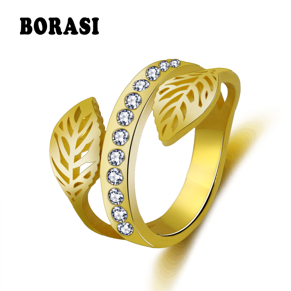 BORASI Fashion Gold Color Female Tree Branch Finger Ring Crystal Leaf Rings For Women Girl Wedding Rings Knuckle Finger Jewelry kcchstar women s four leaf clovers style gold plated finger ring golden us size 8