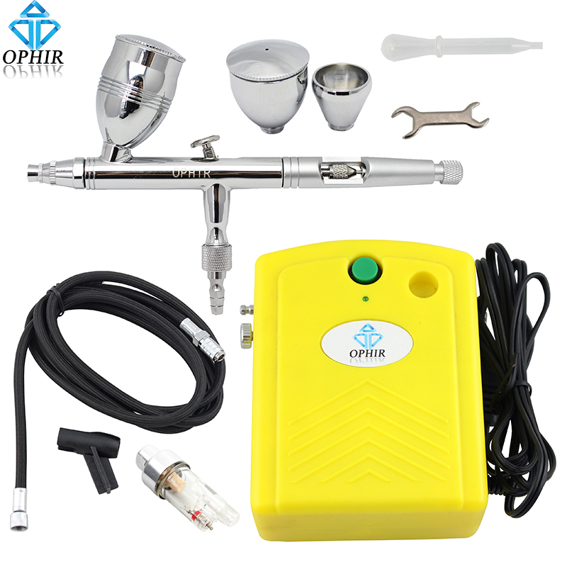 OPHIR Pro 0.5mm Dual Action Airbrush Set with Air Compressor for Body Paint Model Hobby Tattoo Cake Decorating_AC034+AC006+AC011 ophir 0 4mm single action airbrush kit with 5 adjustable mini air compressor cake airbrush gun for makeup body paint ac094 ac007