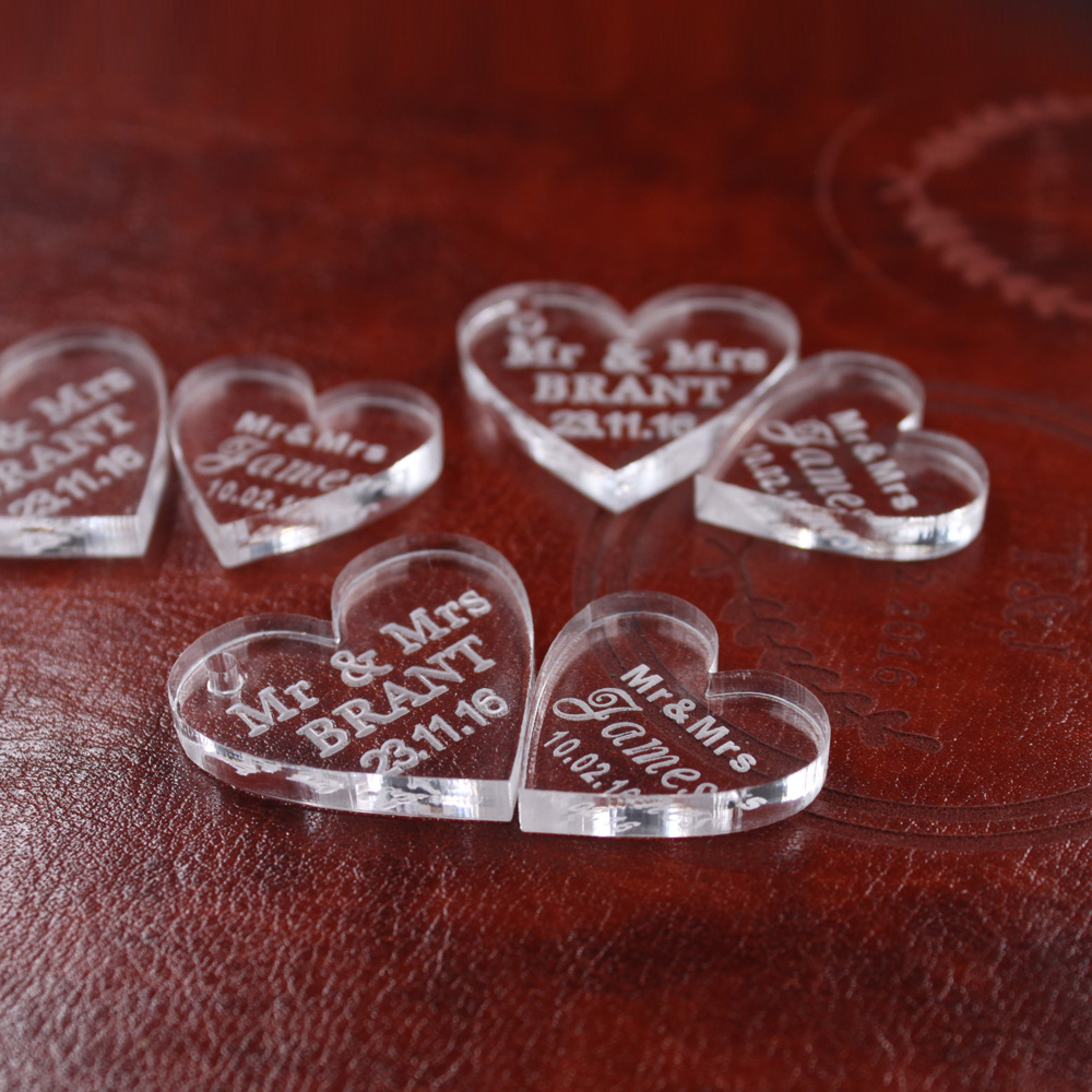 <font><b>50</b></font> pcs Customized crystal Heart Personalized MR MRS Love Heart Wedding souvenirs Table Decoration Centerpieces Favors and Gifts image