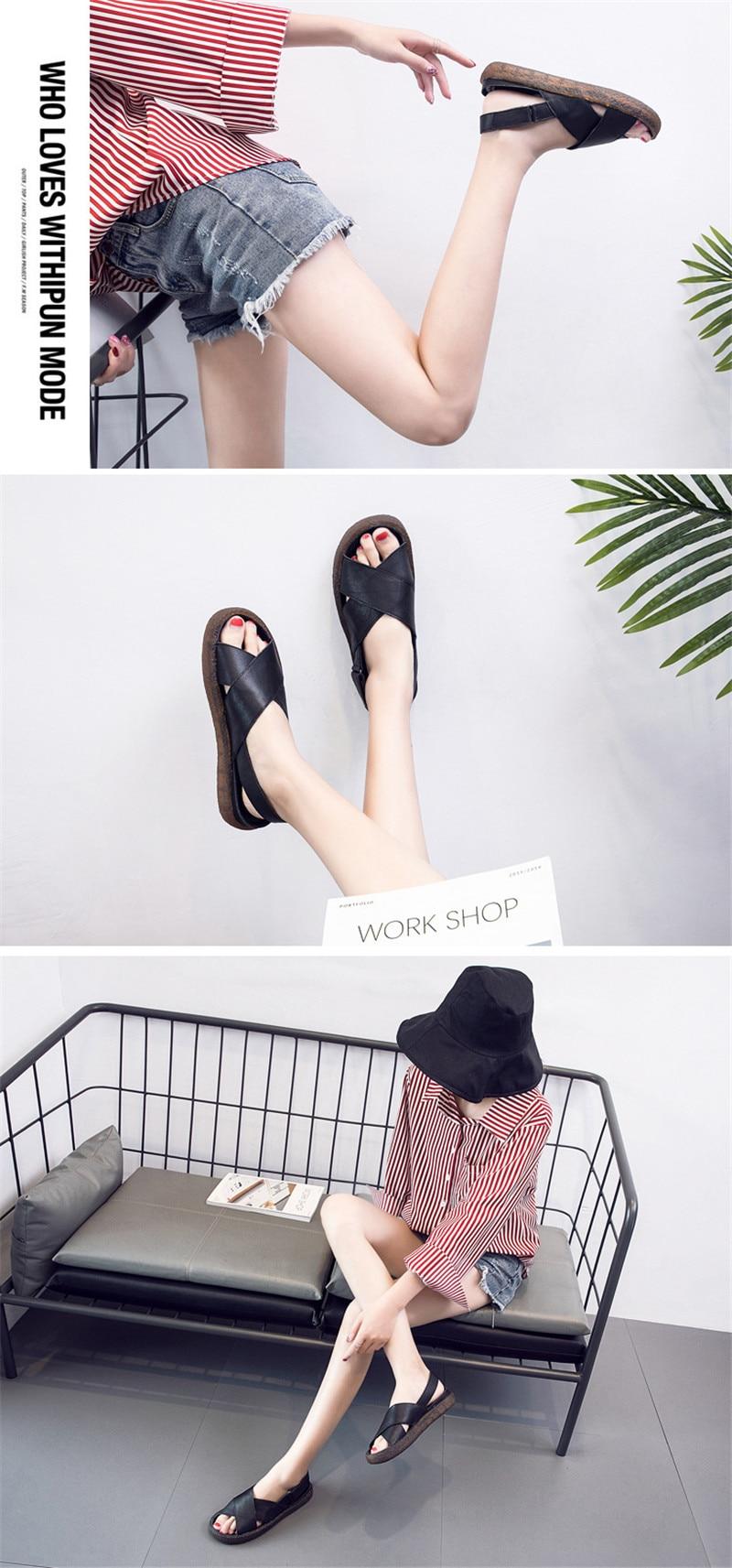 Genuine Leather Handmade Female Sandals Soft Bottom Casual Women Flats Platform Shoes Cross Strap Peep Toe Ladies Slippers Shoes (11)