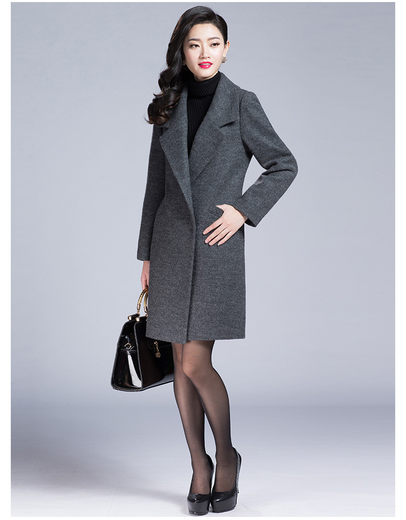 2015 new straight-type dark gray black dark blue wool coat Slim was thin large size suit collar coat