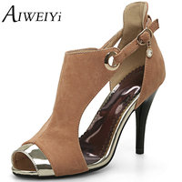 AIWEIYi Vintage Straps Peep Toe Women Gladiator Sandal Shoes Sexy Ladies High Heels Prom Wedding Dress