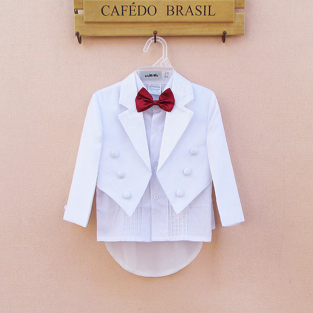 ade8ab495810 White Baby Boys Party Wedding Suits 5 Pieces Formal Tuxedo Suit ...