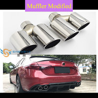 Hot selling!Good Quality New Type Bilateral Double Out Stainless Steel Tail Throat Exhaust Muffler Tips fit Alfa Romeo of Toy*ta
