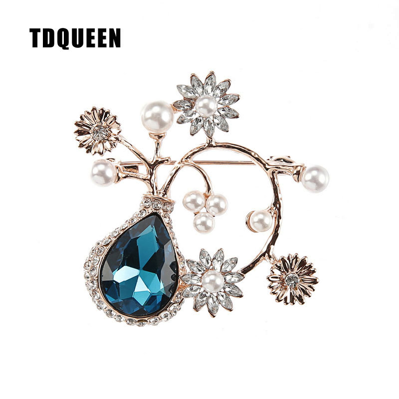 TDQUEEN Crystal Flower Brooches and Pins for Women Silver Plated Metal Big Waterdrop Crystal Pearl Brooch for Wedding Invitation (2)