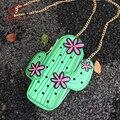 Personalidade bonito forma cactus verde bordados de flores mini cadeia shoulder bag ladies bolsa flap bolsa crossbody saco do mensageiro