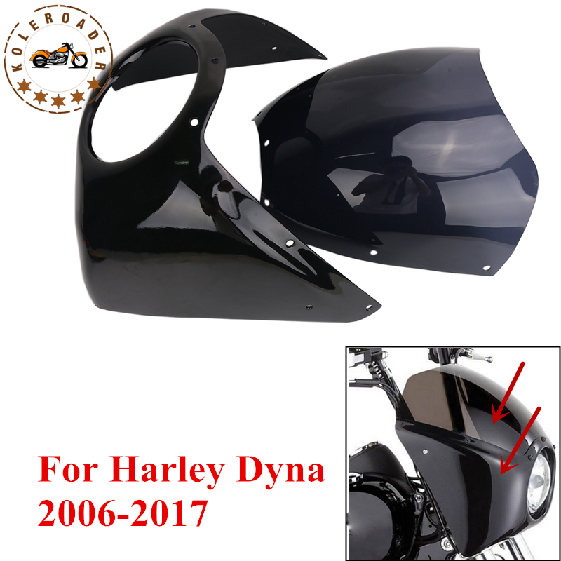 For Harley Fairing Cover Set Headlight Fairing Windshield For Harley Dyna Street Bob Super Glide Low Glide 2006-2017 #MBJ090 fairing vent cover abs chrome batwing fairing vent trim with led accent lights cover for harley street glide efi flhx 14 16