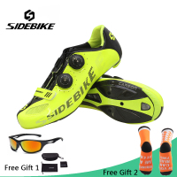 Sidebike Road Cycling Shoes Men Carbon Fiber Bike Shoes Self Locking Breathable Ultralight Bicycle Shoes Athletic Sneakers