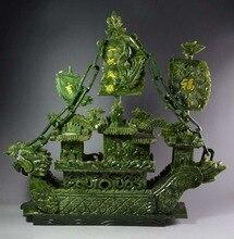 Christmas Gift 100% Natural Jade Dragon Incense statue Dragon Boat