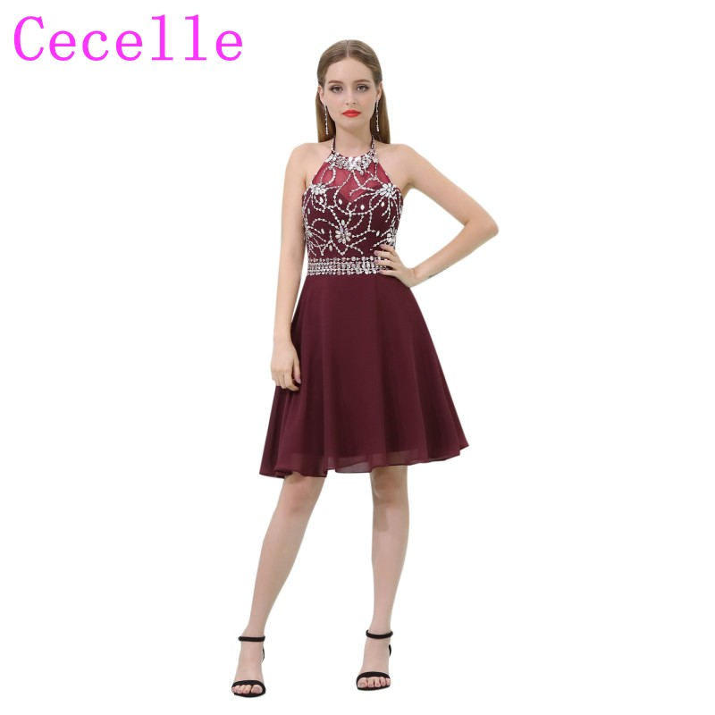 Burgundy Short Chiffon   Cocktail     Dresses   2019 Halter Sparkly Beaded Crysstals A-line Informal Juniors Prom   Cocktail   Party   Dress
