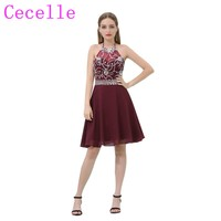 Burgundy Short Chiffon Cocktail Dresses 2019 Halter Sparkly Beaded Crysstals A line Informal Juniors Prom Cocktail Party Dress