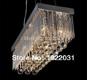 Image 2 - 6 bulb K9 crystal Chandelier popular design square New modern 90V ~260V E14 crystal lights Factory price  Bedroom lamp Hall