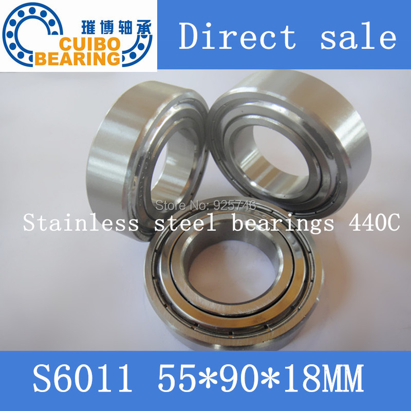 Free Shipping 2PCS S6011ZZ Stainless Steel Bearing 55x90x18 Miniature 6011ZZ Ball Bearings S6011 free shipping 2pcs 40mm stainless steel