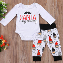 Baby Clothing Fall 2017 Cotton Baby Set Infant Boys Girls Outfits Long Sleeve Santa Claus Romper Pants Set Newborn Clothes