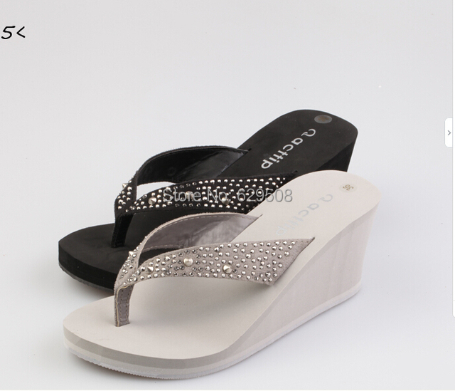2ccb612e9 Free shipping Acttip wedges slippers Women flip flops shoes sandals  (size35-39) black grey item539