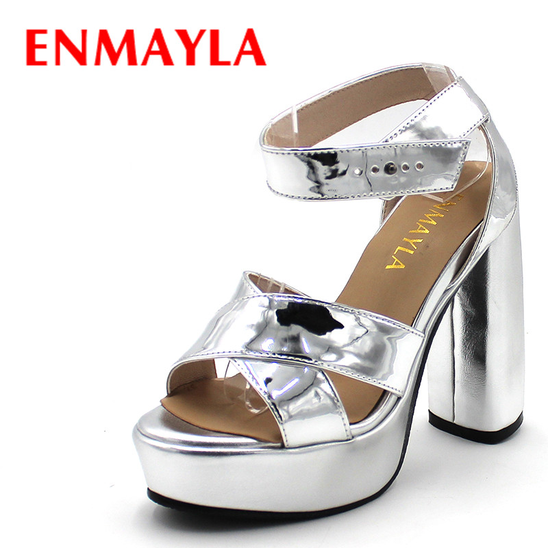 ENMAYLA Summer Velvet High Heels Platform Sandals Women Party Shoes Woman Square Heels Strappy Sandals Blue Green Red Shoes