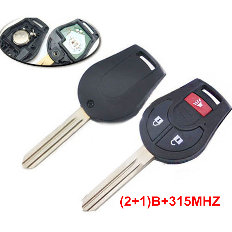 3 (2+1) Buttons Remote Key With Panic For Nissan 2008 - 2014 Cube Rogue Juke Versa 315MHZ