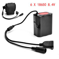 Battery Bright 8 4V USB Rechargeable 12000mAh 6X18650 Battery Pack For Bicycle Light Bike Torch Luces