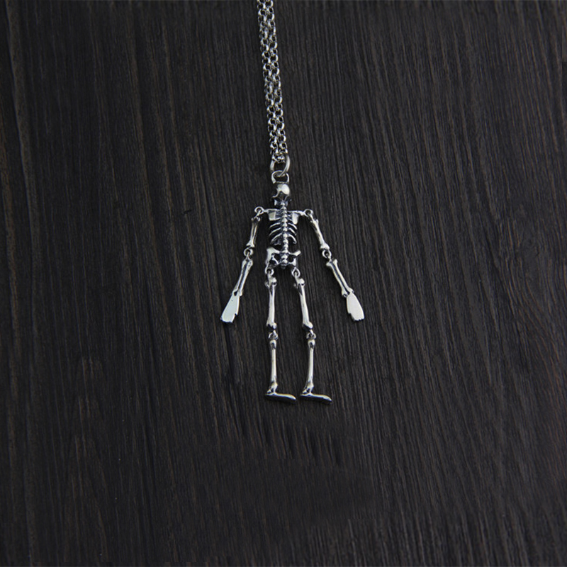 925 Sterling Silver Skull Man Movable Charm Pendant For Necklace Thai Silver hand made Fashion Personal Jewelry bijoux de charme