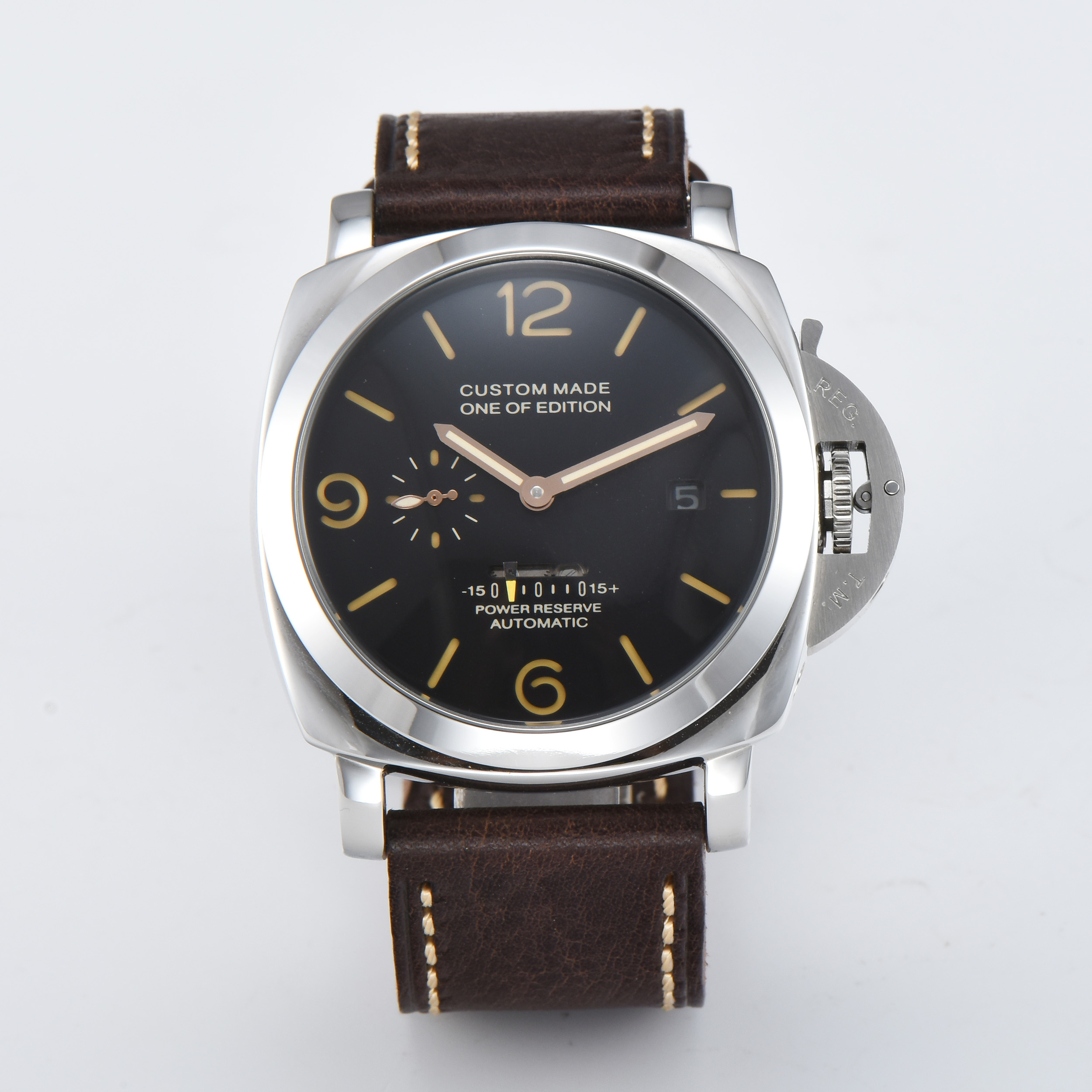 PARNIS Automatic pam watch 47mm Movement power reserve Stainless Steel case Men s Watch High Quality