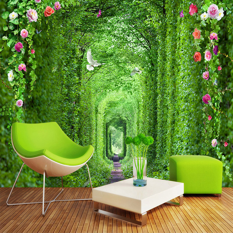 forest living dining simple murals painting corridor shopee wallpapers