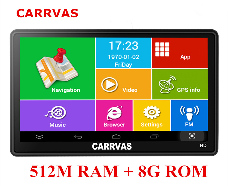 7 inch Car GPS Navigation Capacitive screen WIFI FM AV IN Built in 8GB 512M Android
