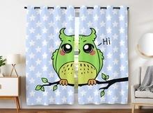 HommomH Curtains (2 Panel) Grommet Top Darkening Blackout Room Cute Owl Says Hi Star Green гарнитура hi fun hi deejay army green