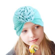 New Kids flower cotton Turban Hat Newborn Cotton Beanie Winter Cap Flower Donut Hats Soft Caps Gifts