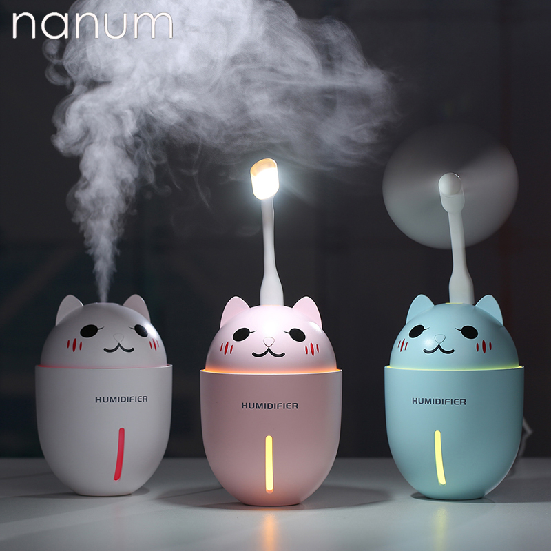 3 In 1 Aroma Essential Oil Diffuser Ultrasonic Adorable Pet Humidifier Air Purifier LED Night Light USB Fan Car Air Freshener