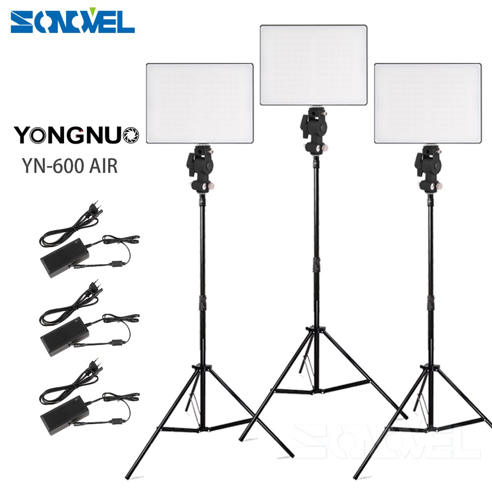 3x Yongnuo YN600 Air Ultra-thin Led Video Light Lighting Kit Bi-color 3200-5500K + Light Stand & Boom Arm + Power Adapter