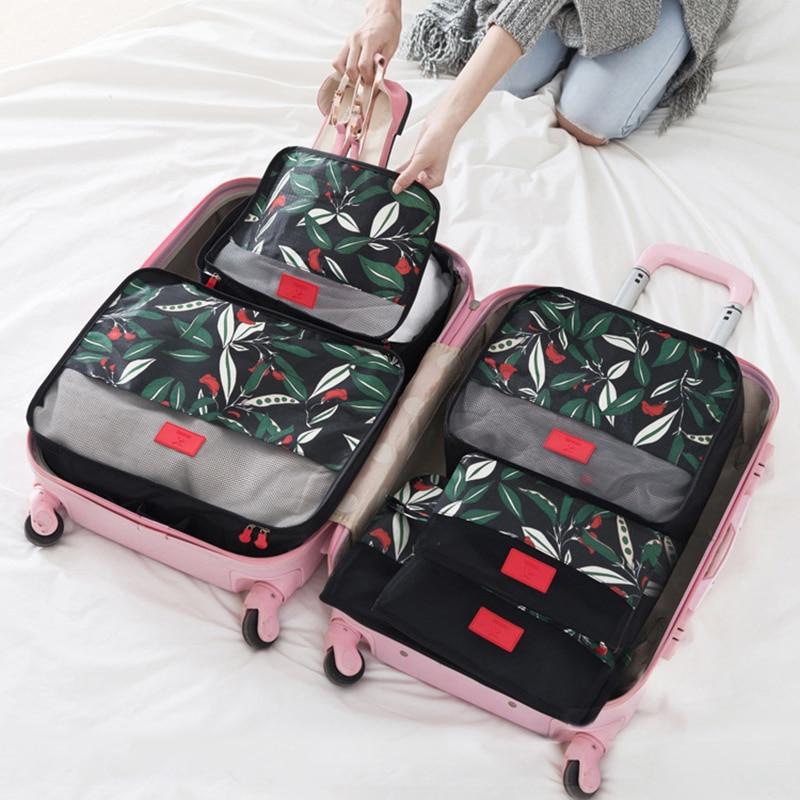 Travel Storage Bags Set Fashion Polyester Luggage Organizer 6 Pieces Packaging Cloth Storage Bag Waterproof Clothes Organizer